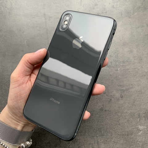 Чехол iPhone XS MAX Glass Silicone Case Logo /black/