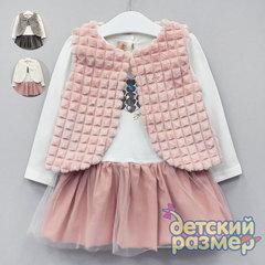 Платье (2 предмета, меховой жилет)