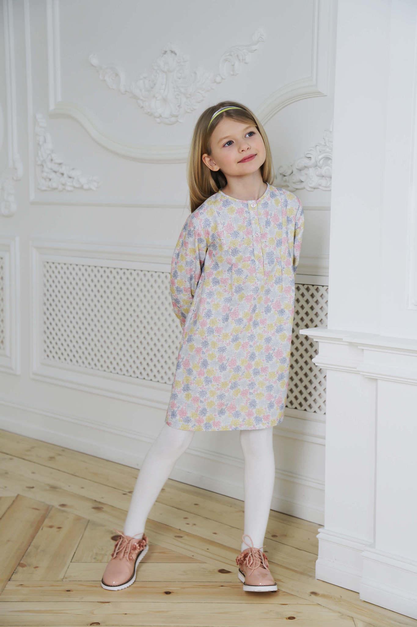 Хлопковое платье в цветной принт