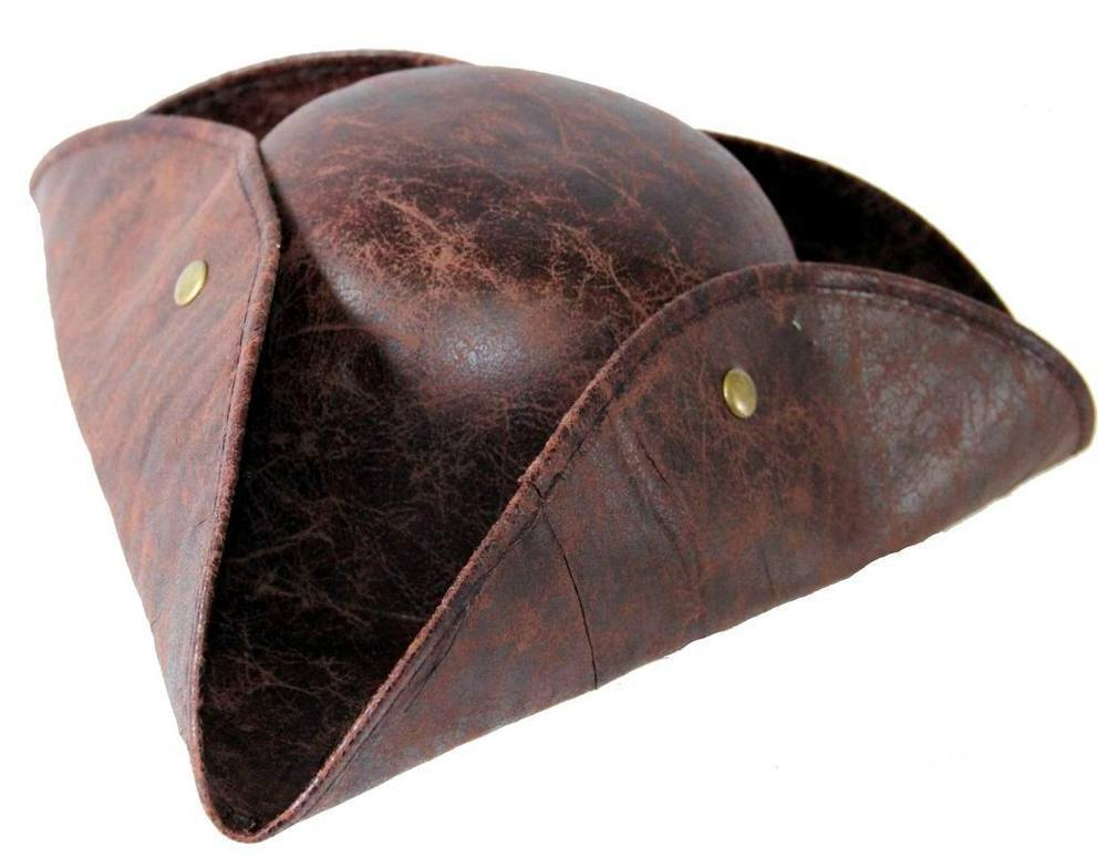 Шляпа пиратская треуголка  коричневая