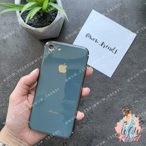 Чехол iPhone 7/8 Glass Silicone Case Logo /forest green/