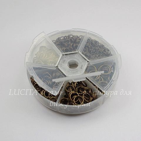 Набор колечек двойных (примерно 900 шт) в контейнере (цвет - античная бронза) 4-10х1,2-1,5 мм