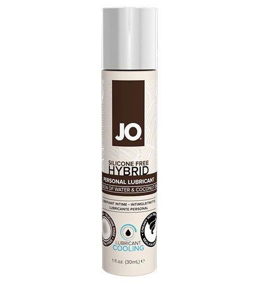 Пролонгаторы: Водно-масляный лубрикант с охлаждающим эффектом JO Silicone free Hybrid Lubricant COOLING - 30 мл.