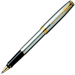 Ручка-роллер Parker Sonnet T527, цвет: St. Steel GT, стержень: Fblack, S0809130