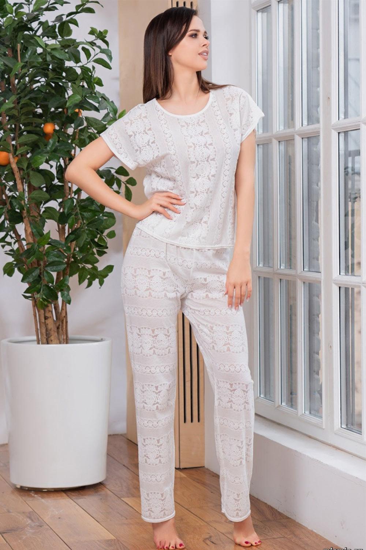 Трикотажный комплек Lilia белого цвета (Женские пижамы)