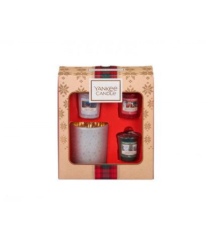 Подарочный набор 3 вотива и подсвечник Рождество в Альпах, Yankee Candle