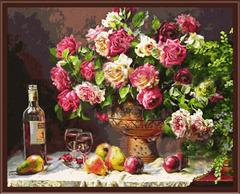 Натюрморт с розами - картина со стразами алмазная
