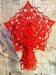 Звезда на елку новогодняя красная