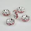 Бусина - рондель 8х4 мм с розовыми фианитами (цвет - серебро), 5 штук