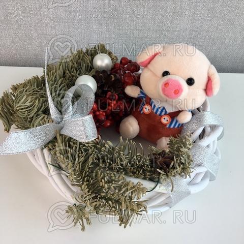 Поросёнок брелок Мистер Хрю символ 2019 года свинья (голубой-коричневый)