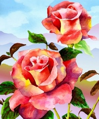 Витражные розы- алмазная картина