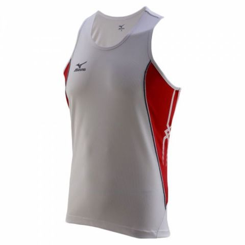 Майка л/а Mizuno Team Running Singlet мужская white/red