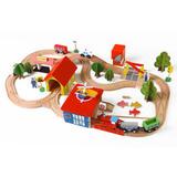 Деревянная железная дорога, 69 деталей 1