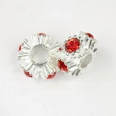 Бусина металлическая для пандоры - рондель с красными стразами (цвет - серебро) 15х8 мм