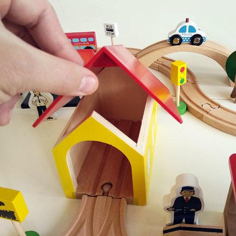 Деревянная железная дорога, 69 деталей 3
