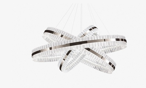 replica Saturno LED 3 rings  chrome Pendant by Baroncelli