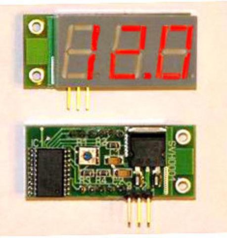 Миниатюрный цифровой встраиваемый вольтметр постоянного тока. Красный индикатор.