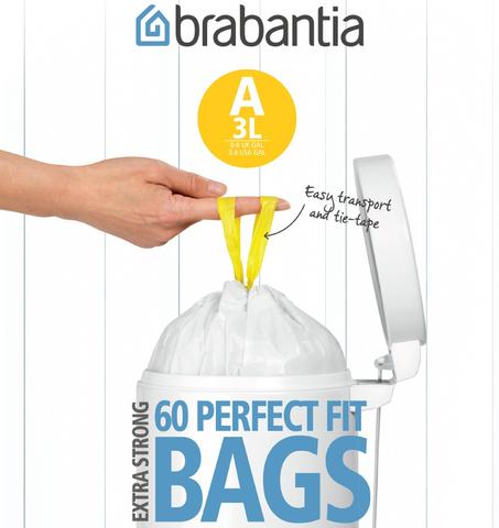 Мешки для мусора PerfectFit, размер А (3 л), упаковка-диспенсер, 60 шт., арт. 348983 - фото 1