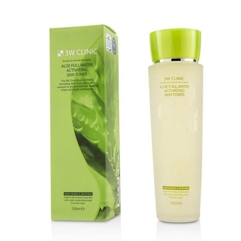 3W Clinic Тоник для лица с экстрактом алое Aloe Full Water Activating Skin Toner 150мл
