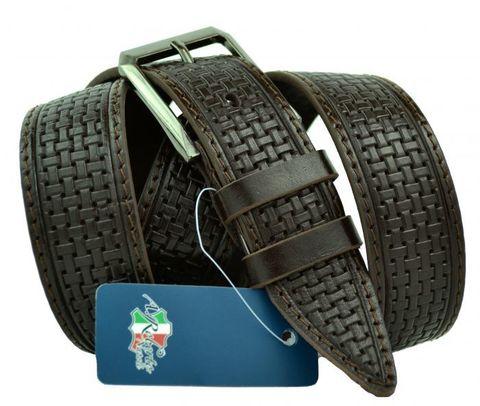 Ремень мужской брючный коричневый кожаный прошитый с тиснением под плетение 35 мм Roberto Napoli 35R.Napoli-B-003
