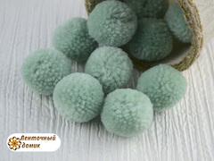 Помпоны из пряжи 3 см нефрит