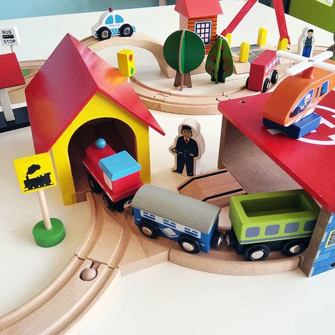 Деревянная железная дорога, 69 деталей 2