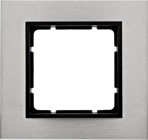 Рамка на 1 пост нержавеющая сталь. Цвет Антрацит. Berker (Беркер). B.7. 10113606