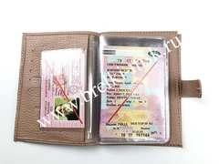 Обложка 2в1 для автодокументов и паспорта на застежке из натуральной кожи Флотер. Цвет Бежевый