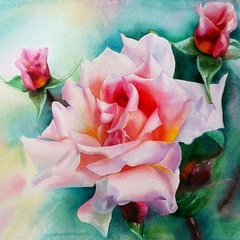 Нежные розы- алмазная картина