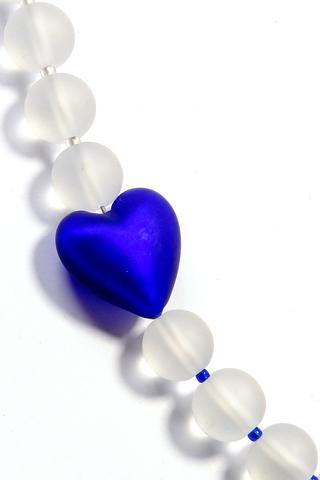 Комплект Satinato Cuori синий (серьги, бусы)