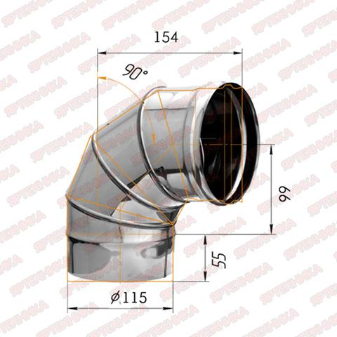 Отвод моно 90° d115мм (439/0,8мм) Ferrum