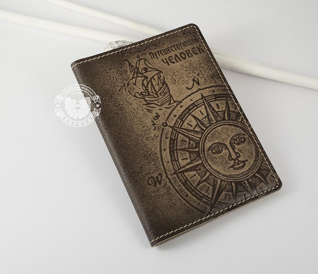 BY14-29-02 Обложка для паспорта из натуральной кожи «Путешествующий Человек»