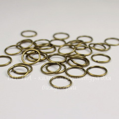 Комплект колечек одинарных 10х1 мм (цвет - античная бронза), 20 гр (примерно 110 шт)