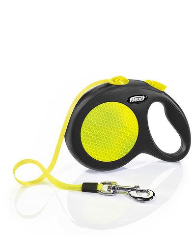 Flexi Neon рулетка, размер M, длина 5 м, лента, лимонный