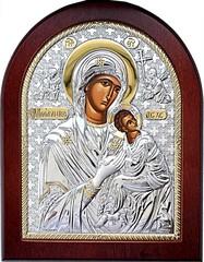 Страстная икона Божией Матери в серебряном окладе.