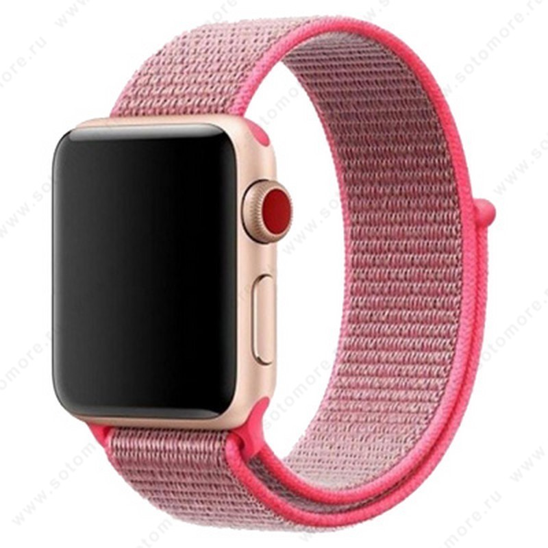 Ремешок для Apple Watch 38/ 40 mm текстильный розовый