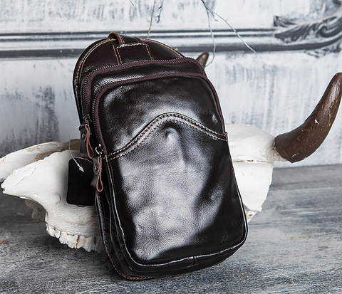 Крутая мужская сумка из кожи с одной лямкой