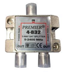 Разветвитель телевизионного сигнала делитель РТСД-2П (проходной) на две точки (DVB-T2 приемника или телевизора) с проходом питания предназначен для использования совместно с активными антеннами, имеющих усилитель. Использование делителя позволяет питать активную антенну от цифрового ресивера или инжектора, те