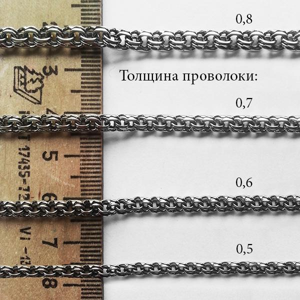 Цепь серебряная бисмарк 0,6 / 75см