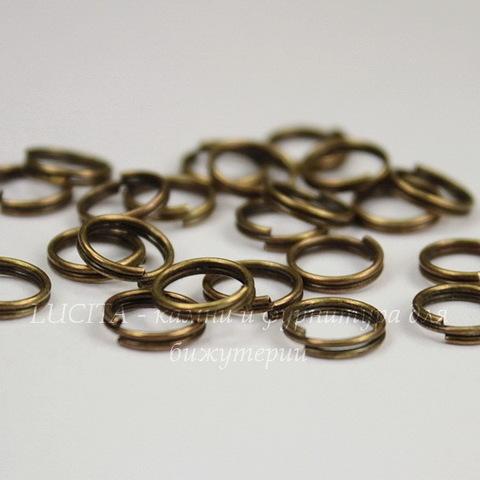 Комплект двойных колечек 8х1,5 мм (цвет - античная бронза), 20 гр (примерно 148 шт)