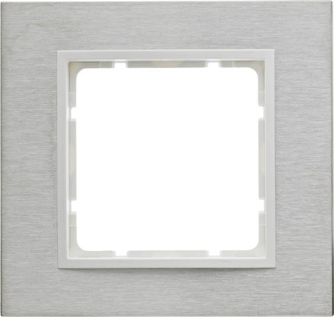 Рамка на 1 пост нержавеющая сталь. Цвет Полярная белизна. Berker (Беркер). B.7. 10113609