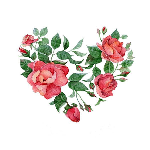 Водорастворимая бумага Сердца из цветов