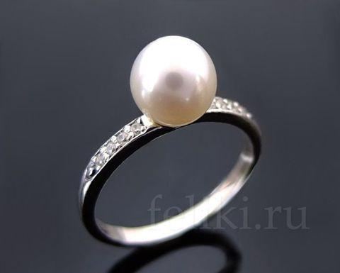 кольцо с жемчугом кс-7164