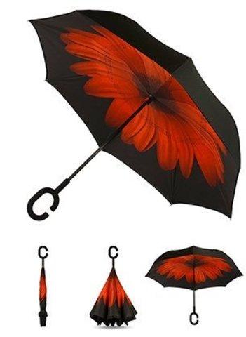 Зонт наоборот Цветок красный сделан так, что теперь вы сможете легк...
