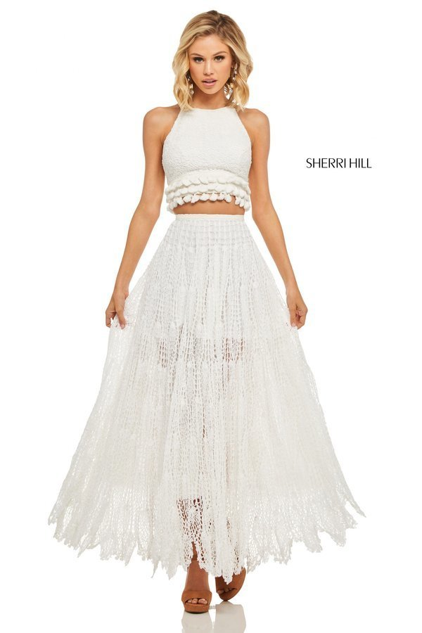 Sherri Hill 52928 Платье кроп-топ, длинное, кружевное