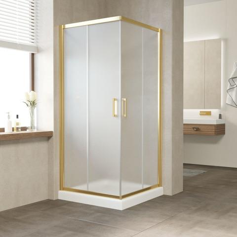 Душевой уголок Vegas Glass ZA профиль золото, стекло сатин