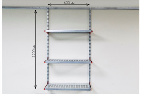 Стеллаж в кладовку (600х1200 мм, 3 ряда полок глубиной 315 мм)