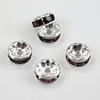 Бусина - рондель 8х4 мм с фиолетовыми фианитами (цвет - серебро), 5 штук