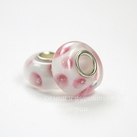 """Бусина Лэмпворк для пандоры """"Розовые пузыри"""", рондель, цвет - белый, 13х7 мм"""