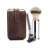 Дорожный бритвенный набор MUEHLE, чехол из натуральной коричневой кожи, дорожный помазок, дорожная бритва Fusion (RT 2 F)